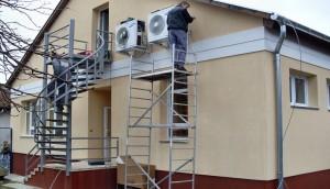 Keszthely Gondviselés háza: 2db Samsung triál inverteres klíma telepítése 6db beltéri egységgel a helyiségekben.